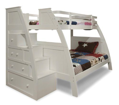 Canwood Overland Bunk Bed With Built In Stairs Drawers Twin Over Full White