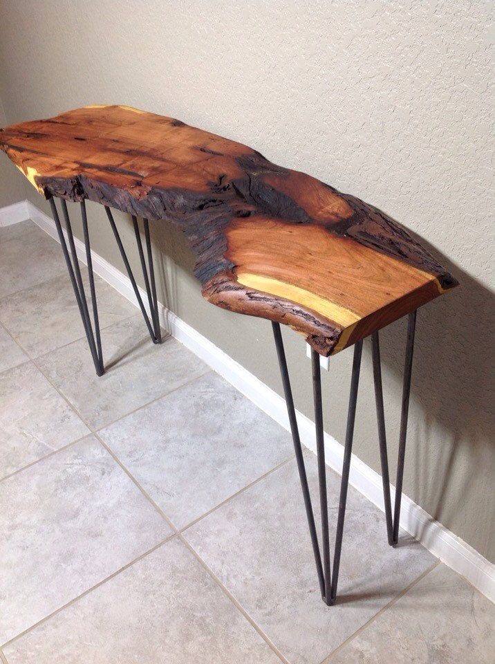 Mesquite Live Edge Console Table Texas San Antonio Foyer Table Entry Table Wire Leg Metal Leg Wood Live Edge Console Table Live Edge Wood Table Foyer Table Diy