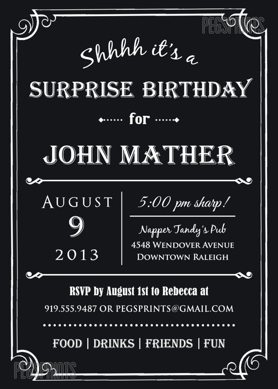 Adult Surprise Birthday Invite