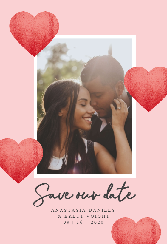 Glitter hearts Save the Date Card Template (Free