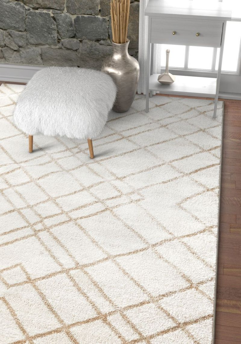 Adalene Ivory Modern Mosaic Moroccan Rug Rugs Traditional Area