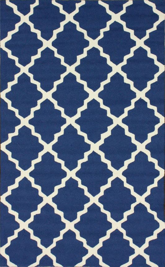 $5 Off when you share! Hacienda Lattice Trellis Outdoor Navy Blue Rug | Contemporary Rugs #RugsUSA