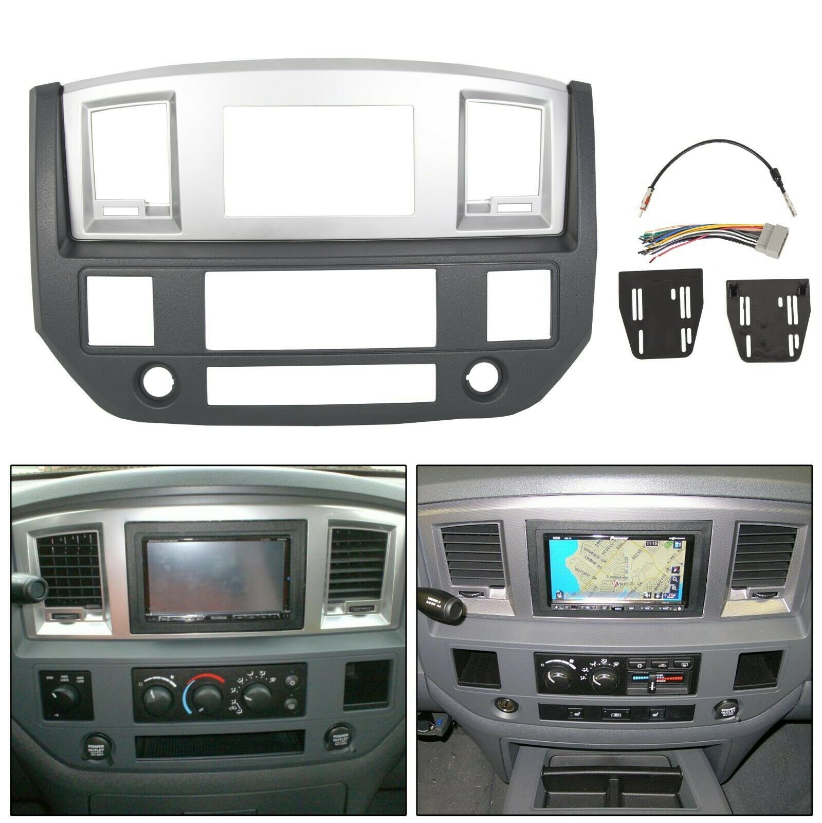 Black Silver GPS Radio Double Din Dash Kit Fits Dodge Ram 2006 2007 2008 2009