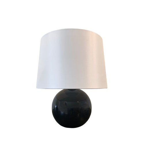 An Art Deco Ball Lamps In Black Opaline And Brass Hardware With Silk Lamp Shaded 20 Cm D 35 X H 38 Cm Including Shade Franc In 2020 Lamp Ball Lamps Silk Lampshade