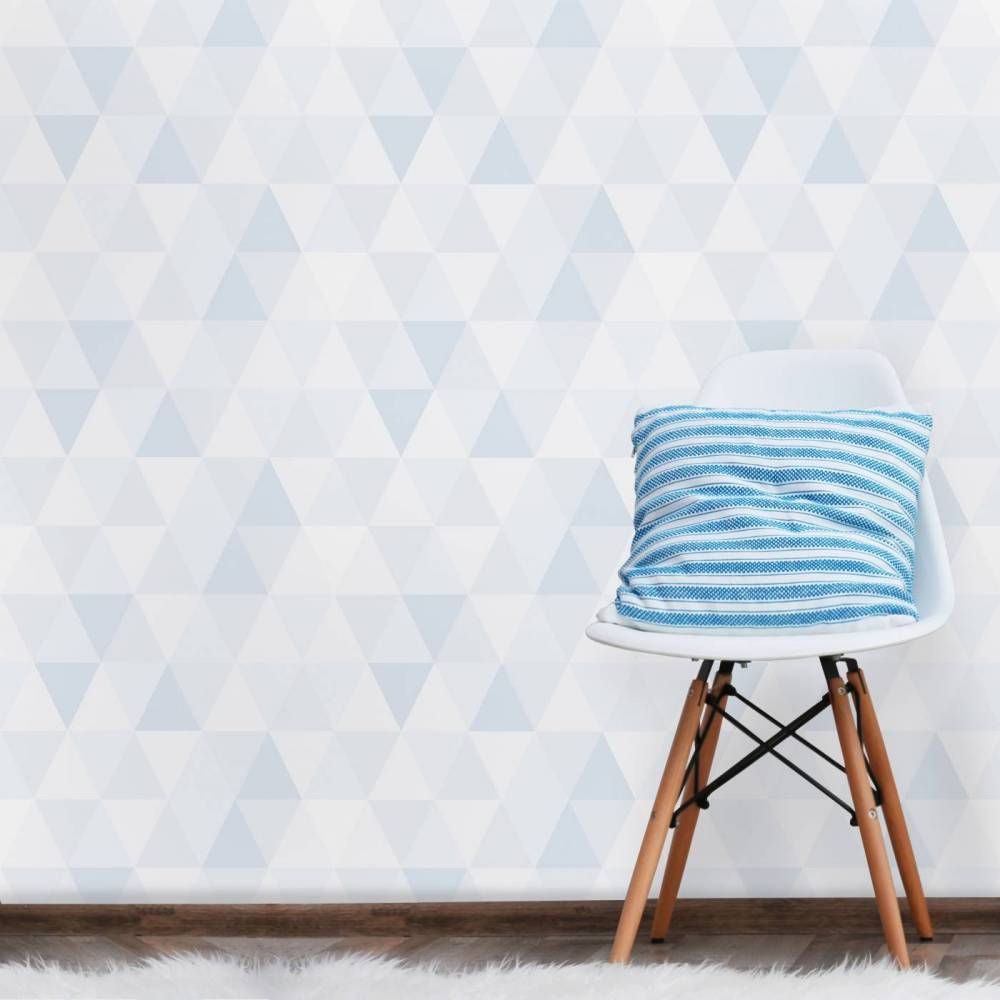 Papel De Parede Cole O Geometria Azul Branco E Cinza Pa7821