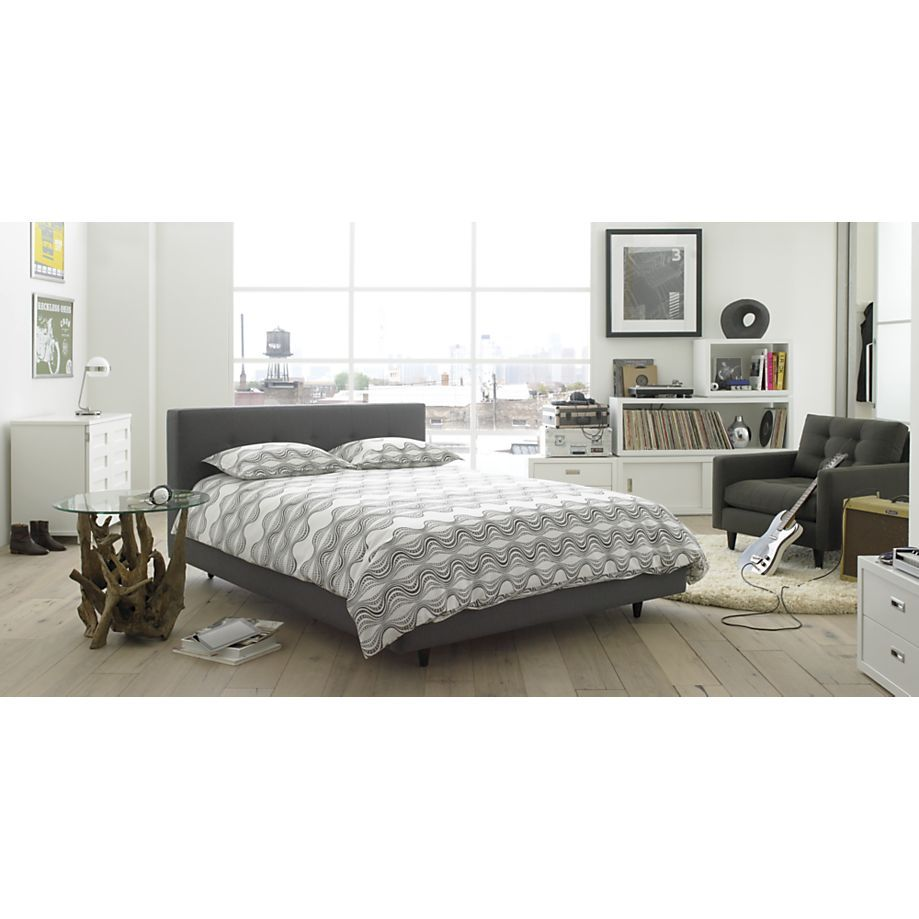 Tate bed crate barrel charcoal grey