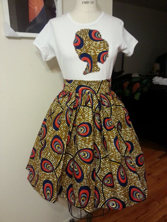 Afro T and Belle Skirt Set  100% Ankara African Wax print And Cotton Babydoll Tee shirt...thinking of getting this custom with a pyramid on the front of the tee instead...
