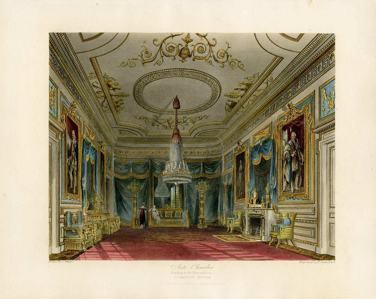 The Ante-Chambre - 1819 - From Pyne's Royal Residences.
