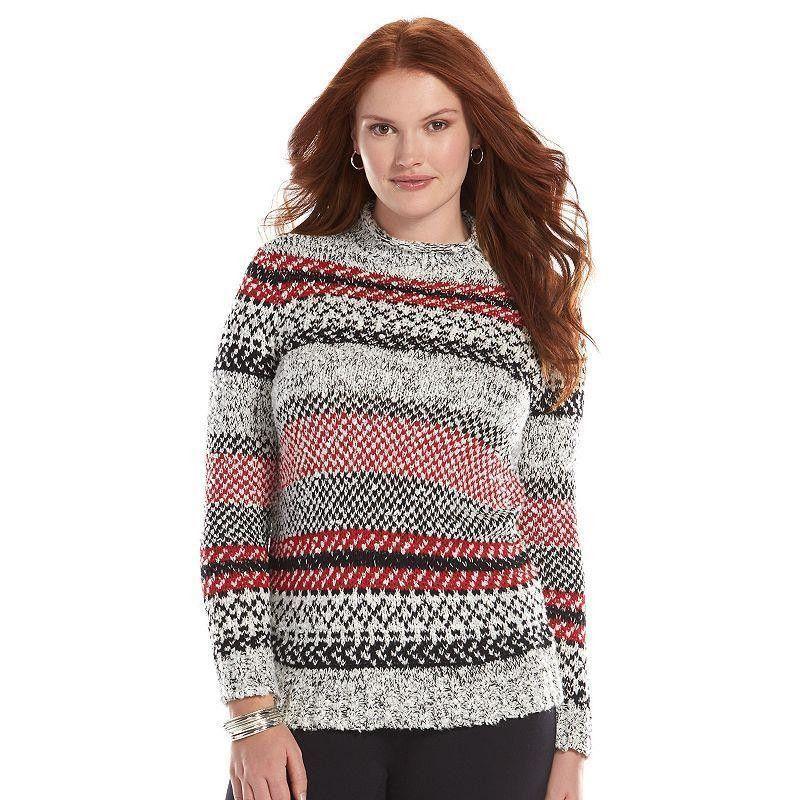 Chaps Ralph Lauren Nordic Fair Isle Mock Neck Boucle Tunic Sweater ...