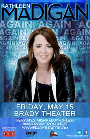 Kathleen Madigan  Fri - May 15 Brady Theater 105 W. Brady St. Tulsa, OK   Tickets on sale Fri Oct 3rd @ 10am Reasor's and Starship  Records in Tulsa Buy For Less locations in OKC By phone @ 866.977.6849 Online @ protix.com Doors open at 7pm All ages welcome #comedy #Tulsa #BradyTheater #KathleenMadigan #TonightShow #LateNight #LateShow #tour