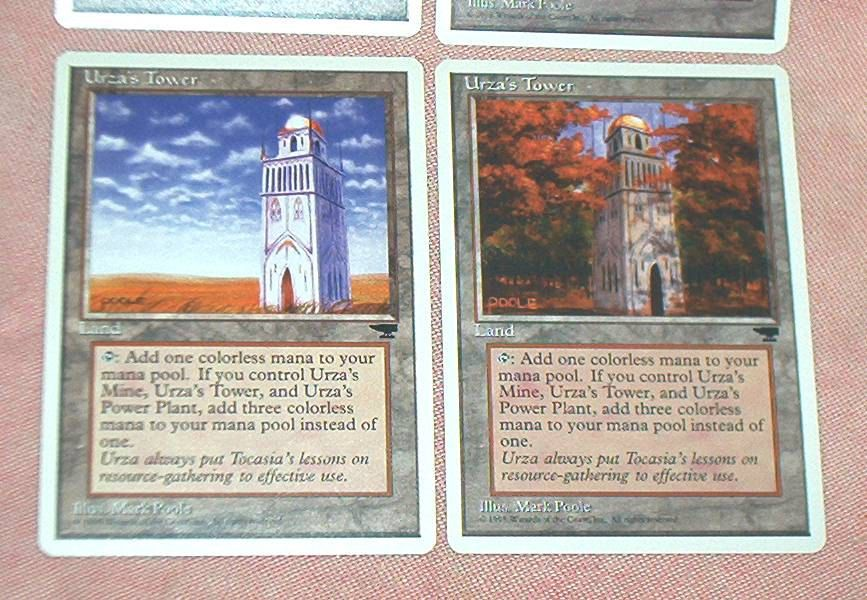 Set of 4, MAGIC The Gathering  URZA'S  TOWER, Land Cards, white border, Chronicles, Played but Exc. by brotoys1 on Etsy