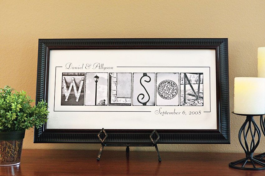 Personalized Name Frame Print 10x20 Unframed Personalized Wedding