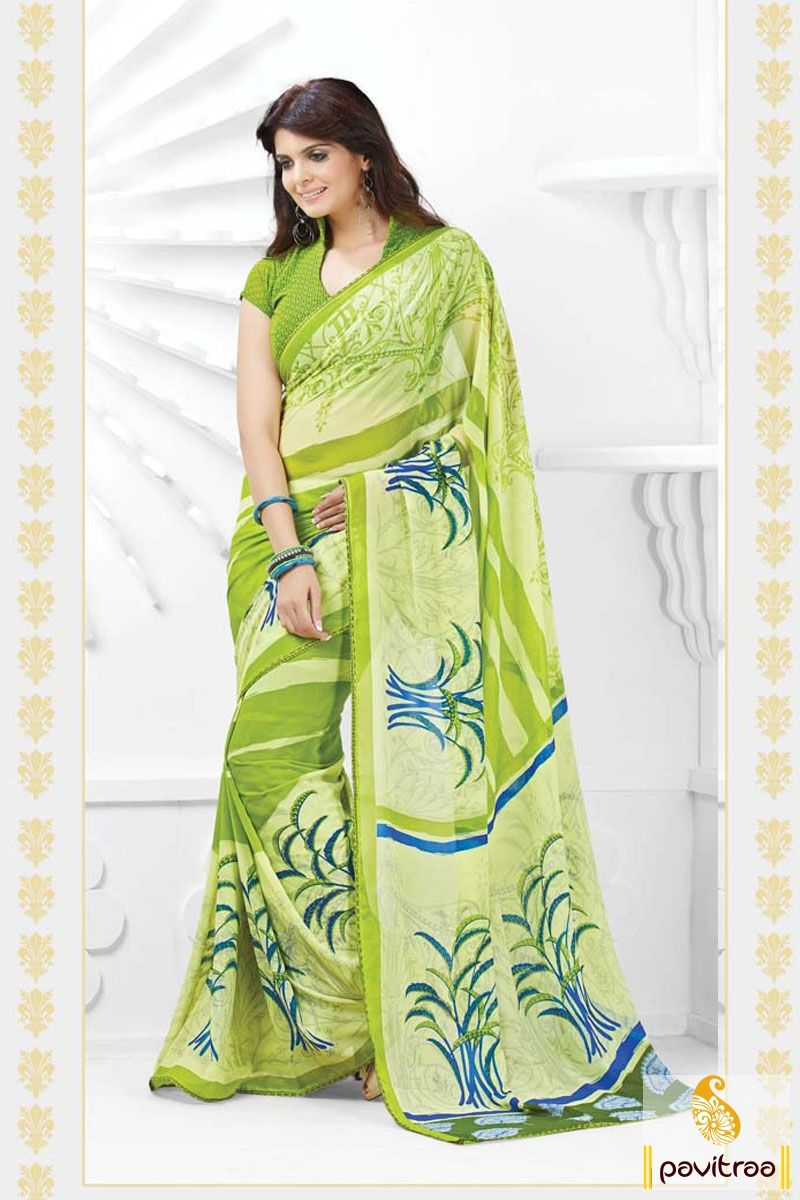 The trendy off white and olive georgette party wear printed saree is having blue and lime printed work patterns and designs on smooth and comfy material.