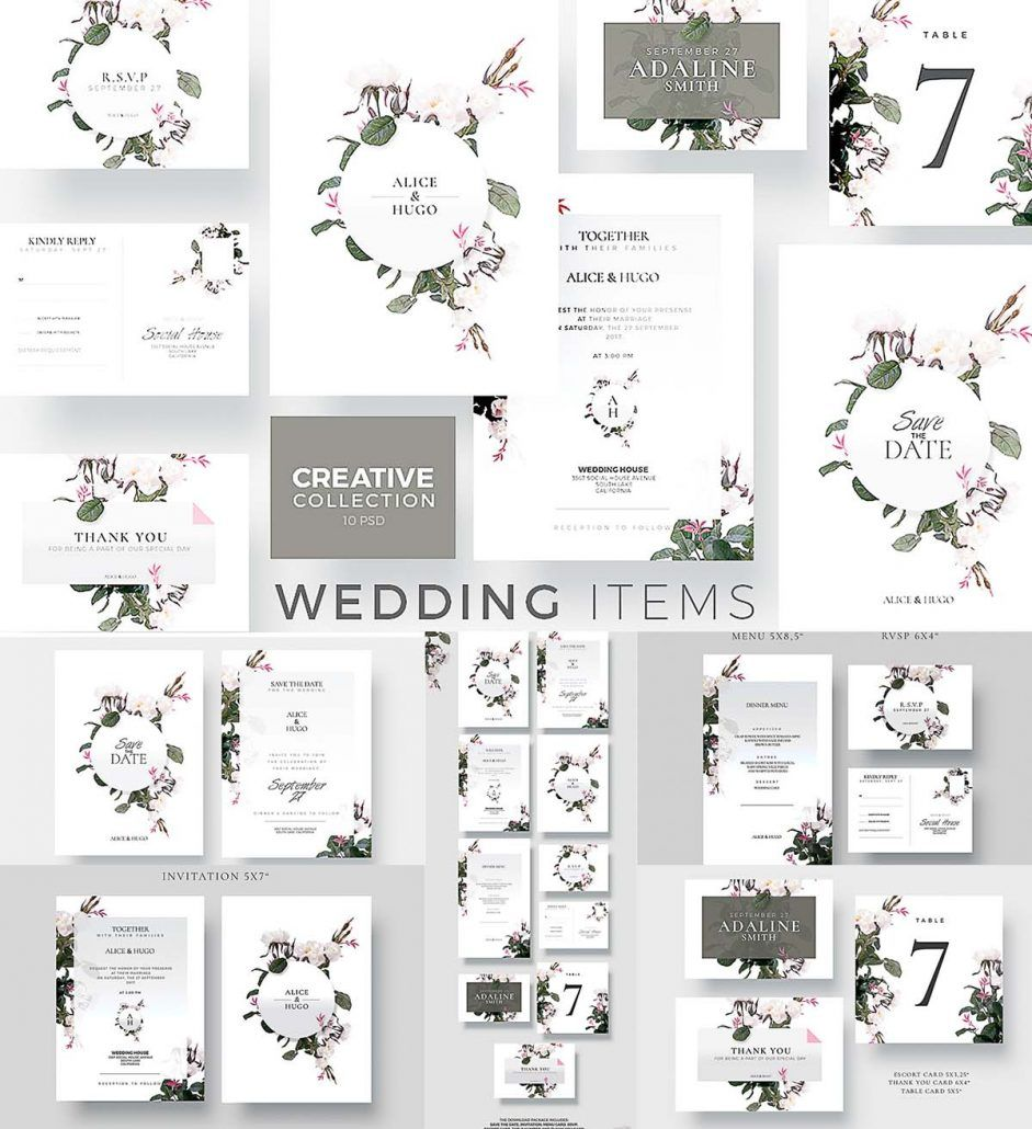 The Download Package Includes 10 Templates: Save The Date, Invitation, Menu  Card, RSVP, Escort Card, Table Number And Thank You Card. Free For Download.