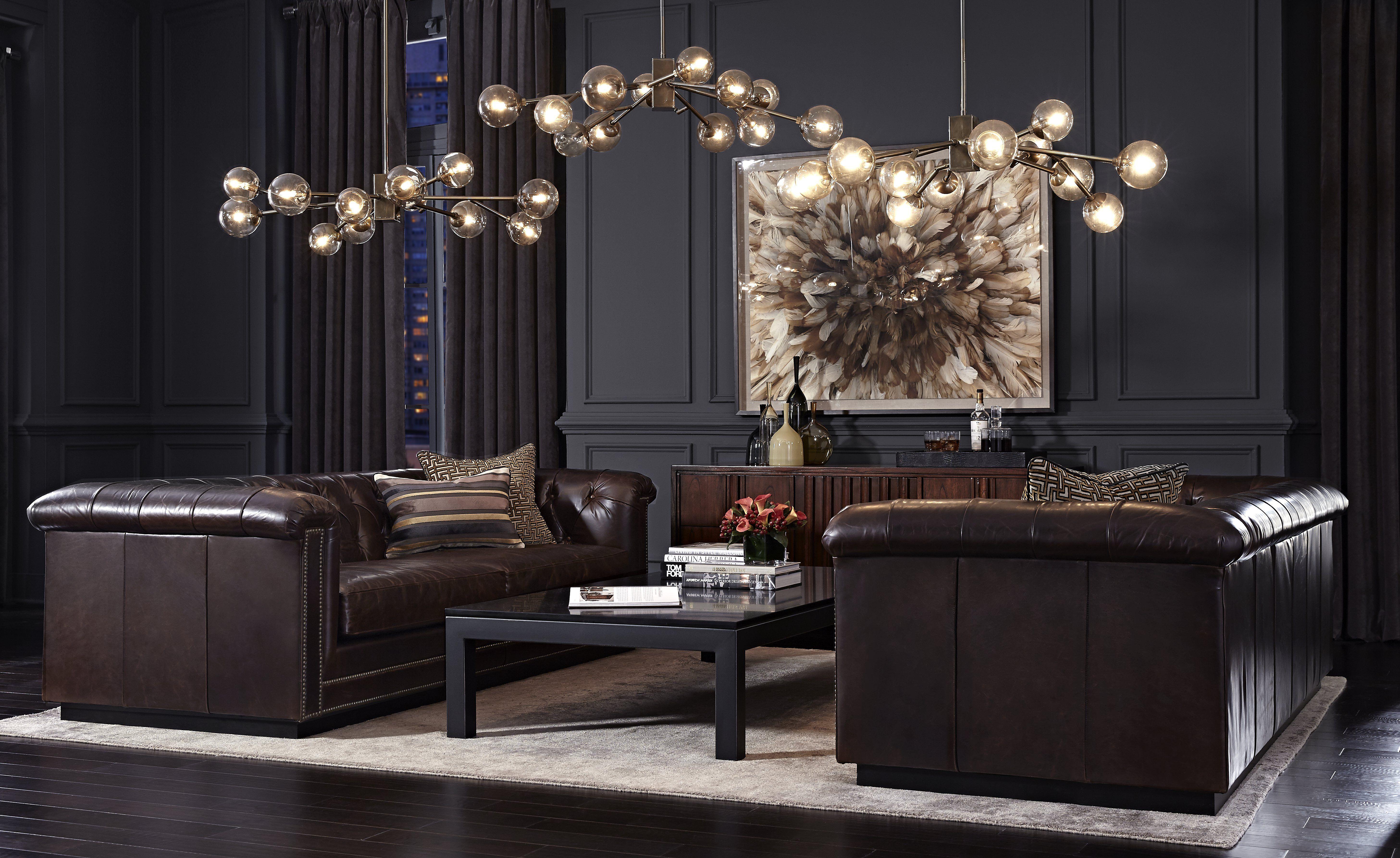 Mitchell Gold Bob Williams Montreal Sofa Barrymore En Cuir Brun Design Lounge Salle De Sejour Mobilier De Salon