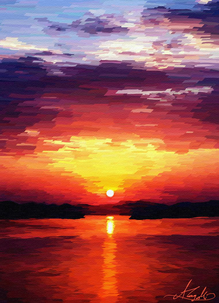 Watercolor Sunrise Sunrise Painting By Resim Manzara