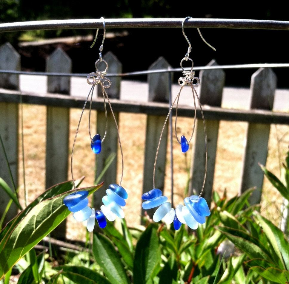 ON SALE NOW Sea Glass Hoop Earrings by SmithNJewels on Etsy