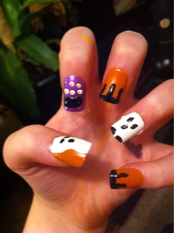 Cute Halloween nails using only toothpicks | Cute ...