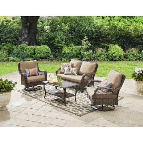 4 Seater Wicker Conversation Set Patio Swivel Rocking Chairs Garden