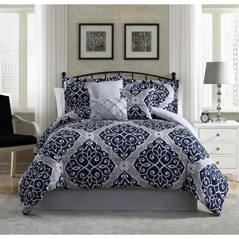 Camille Navy Grey 7 Piece King Comforter Set Ymz005933 The Home