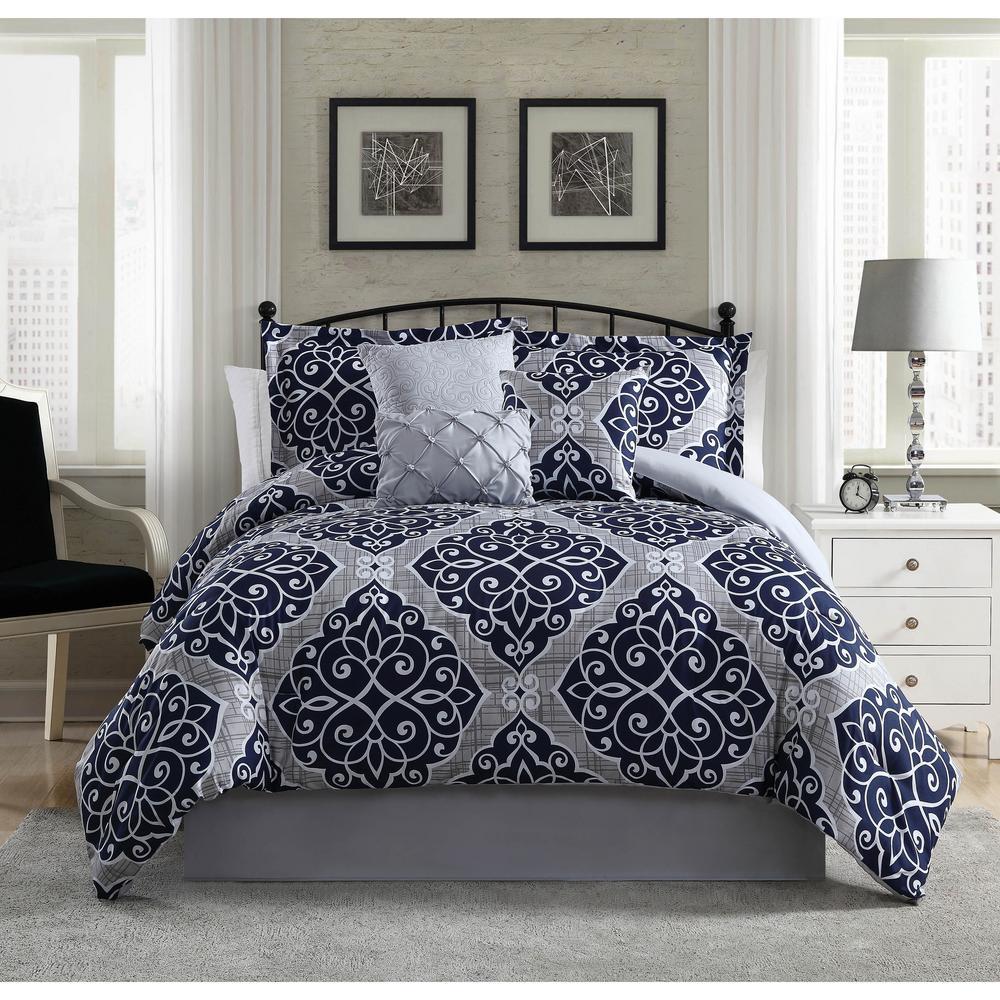 Camille Navy Grey 7 Piece King Comforter Set Ymz005933 The Home Depot 113 Comforter Sets Damask Bedding King Comforter Sets