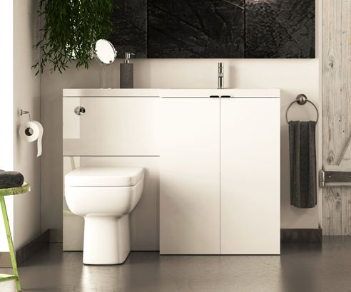Mydesign white 1100 l shaped combination unit with sink - Combination vanity units for bathrooms ...