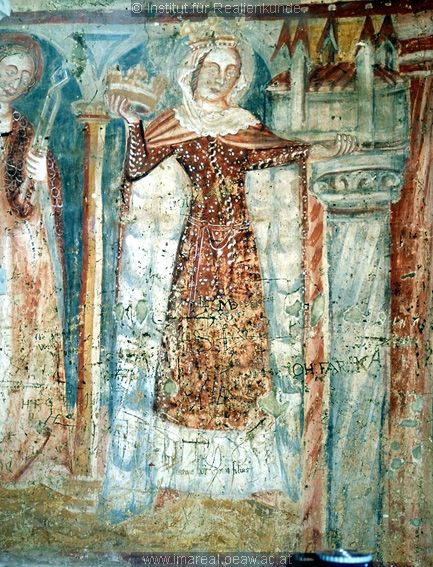 late 14th or early 15th century (1392-1410) Slovenia? Saint Elizabeth of Thuringia - detail of a fresco in the parish church of St. Martin in Martjanci, Slovenia; by workshop of Johannes von...