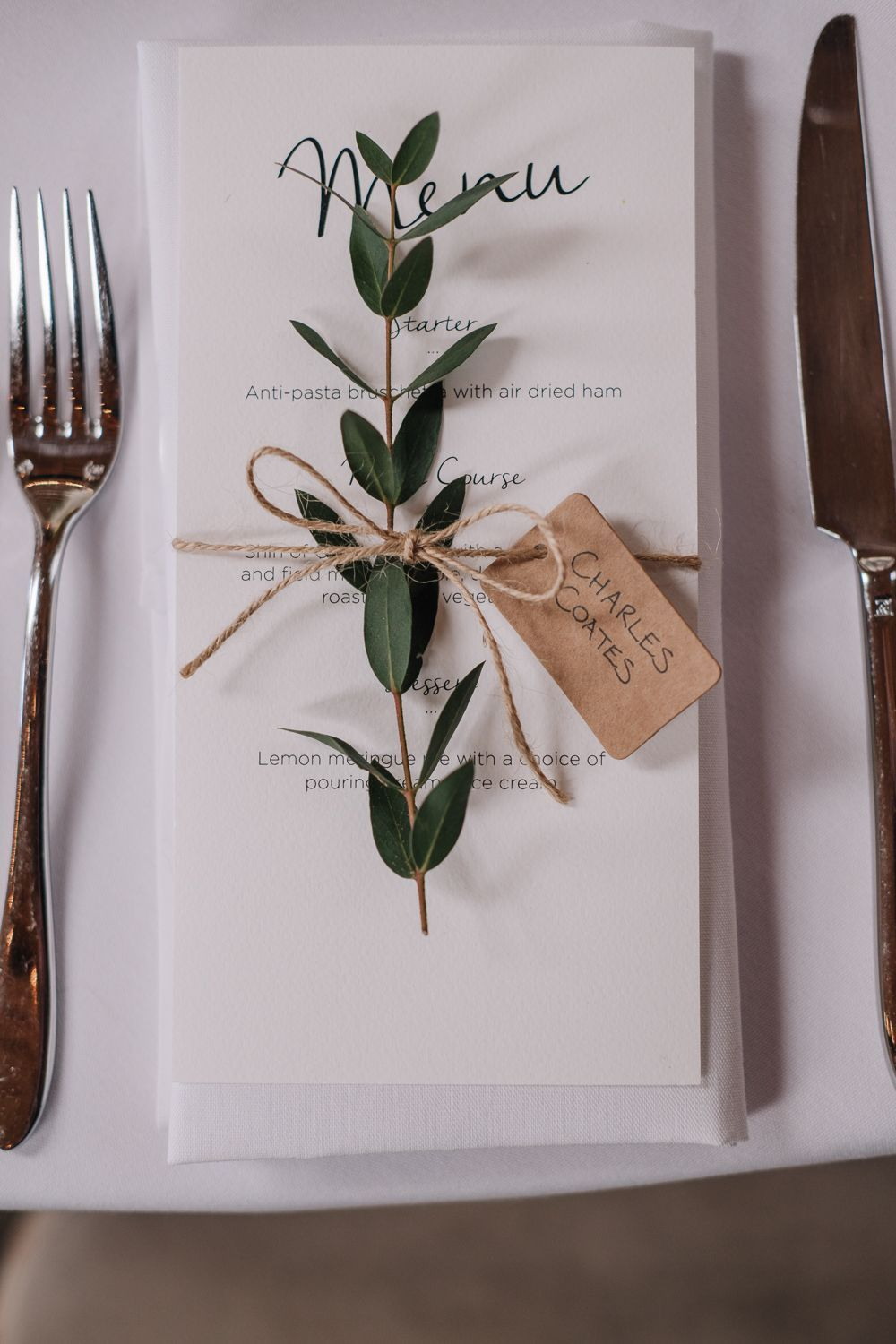 Greenery Place Setting Menu Owen House Wedding Barn Nessworthy Photography #Greenery #PlaceSetting #Wedding #greenerywedding