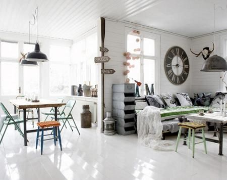 Decoración con relojes Industrial look Pinterest Salons