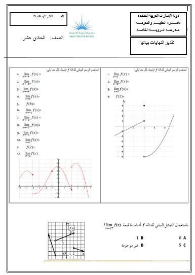 الرياضيات المتكاملة ورقة عمل تقدير النهايات بيانيا للصف الحادي عشر Chart Map Line Chart