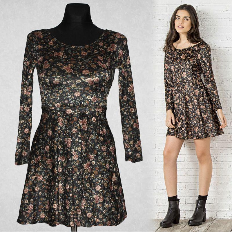 SPRINGFIELD floral printed velvet mini dress black beige pink sleeves XS 34  6
