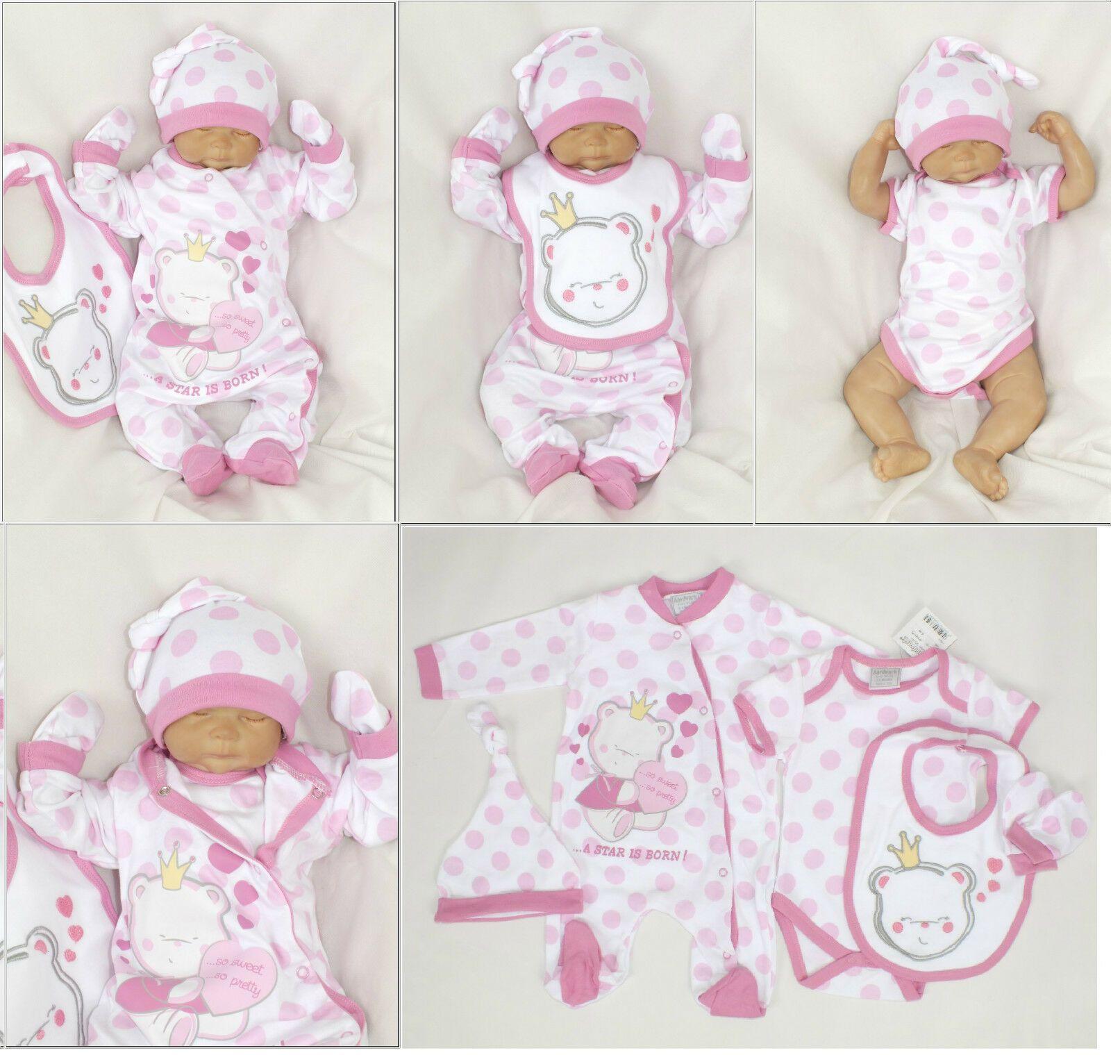 3-er Baby Starterset Erstausstattung 50 56 62 68 100/% Baumwolle Strampelanzug