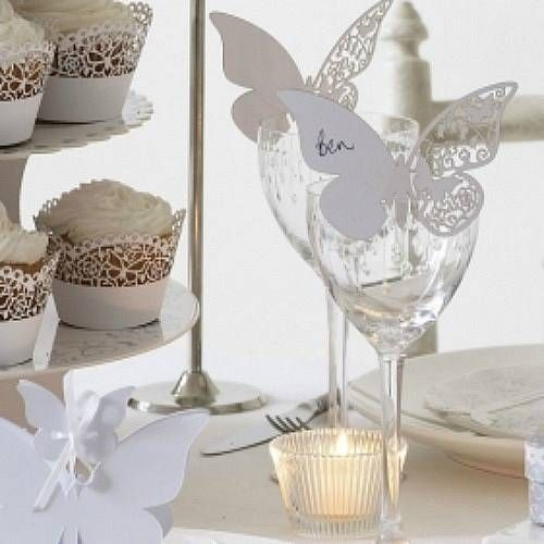 White Butterfly Wedding Place Cards