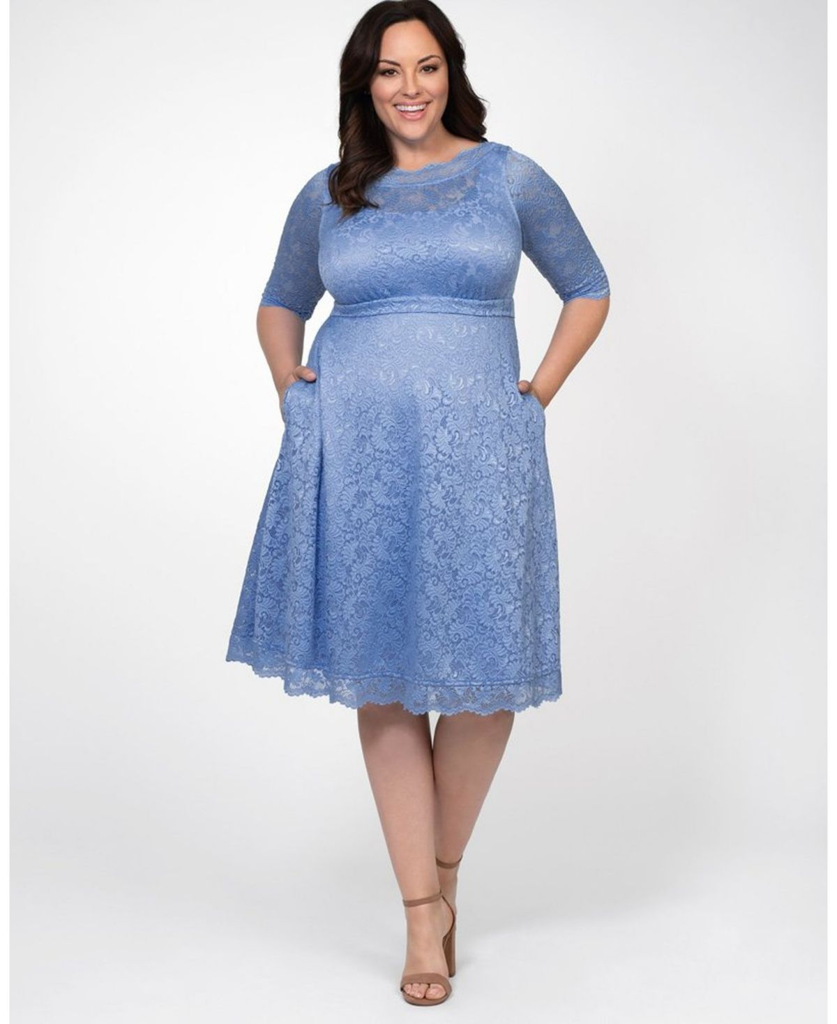 BLUE Coveted Drape Side Sketched Flower Print Dress Plus Size 16 to 32