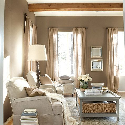 Wall Color With Taupe Curtains Upholstery Living Room Decor