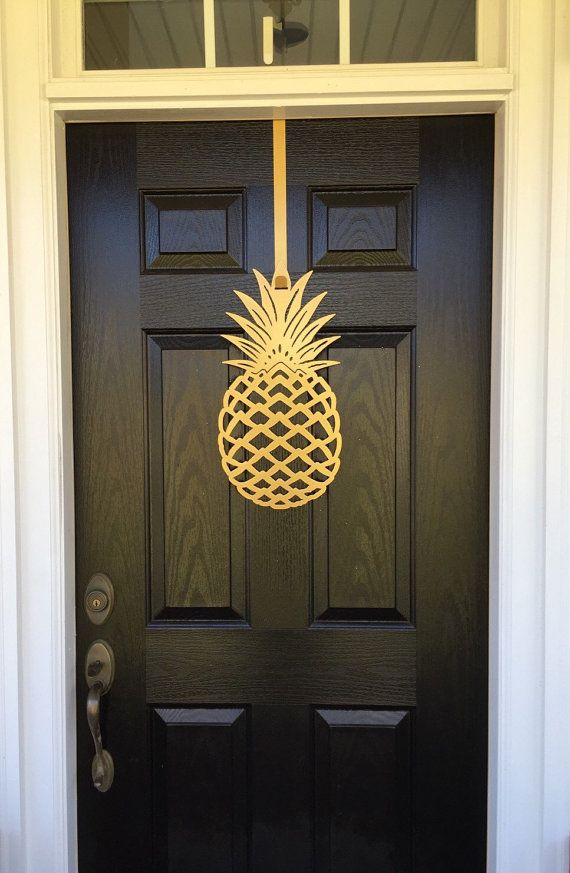 2 sizes available 26 Tall x 13 Wide 20 Tall x 10 wide Front Door Wreath,  You can hang on a door hook, add ribbon, hang on a nail from cutouts of ... - Pineapple, Front Door Wreath, Front Door Decor, Pineapple Decor