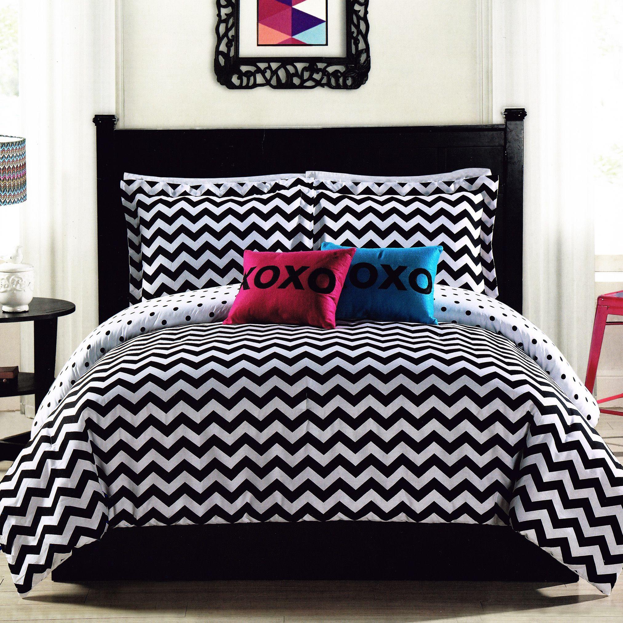 Black Bedroom Sets Queen Bed For Bedroom Bedroom Colour Ideas Dark Little Girl Bedroom Decor: Black White Chevron Comforter Set Twin Full/Queen Teen