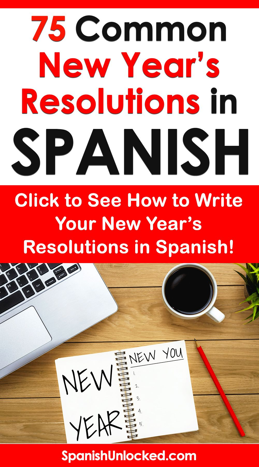 Learn SPANISH this year! New year resolutions ideas in