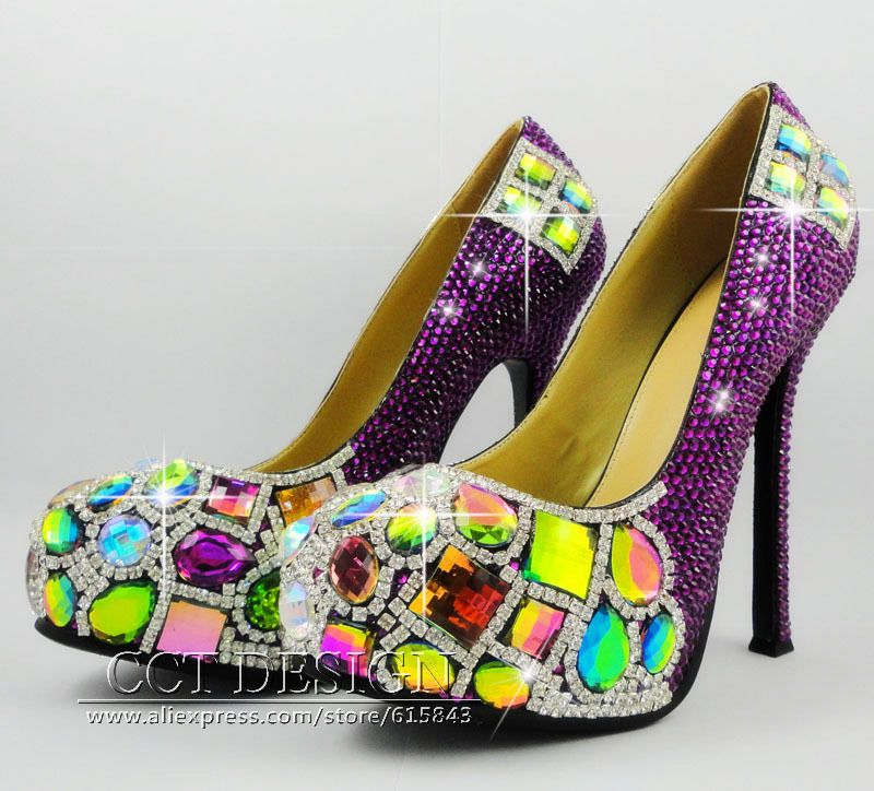 >> Click to Buy << luxury colorful diamonds and purple rhinestone wedding shoes sexy women customized high heels drop shipment free shipping #Affiliate