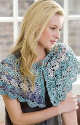 What a lovely caplet. I think I will make this.    Pattern:  http://www.redheart.com/files/patterns/pdf/LW2638.pdf