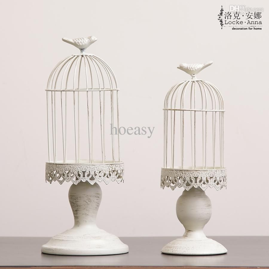 Discount Wholesale Metal Antique Cream Wedding Bird Cage Candle Holder For Home  Decor, Wedding Candleholder