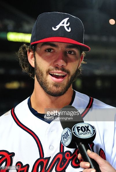 Dansby Swanson of the Atlanta Braves is interviewed after the game ... 00bfec70097