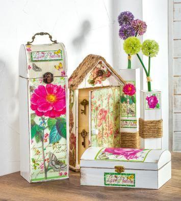 Erstaunlich DIY Landhausdeko Selbstgemacht: Im Cottage Style Mit Decoupage Dosen,  Boxen, Schlüsselkasten Und Vasen Selber Machen.