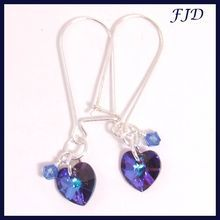 Crystal Heart and Sterling Silver Earrings