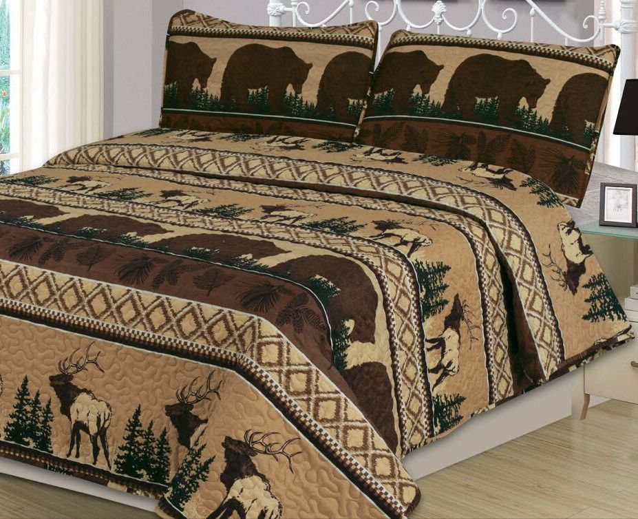 Beatrice Bear Mountain King Quilt Set 3 Piece Elk Rustic Cabin Lodge,  Brown, Tan, And Hunter Green