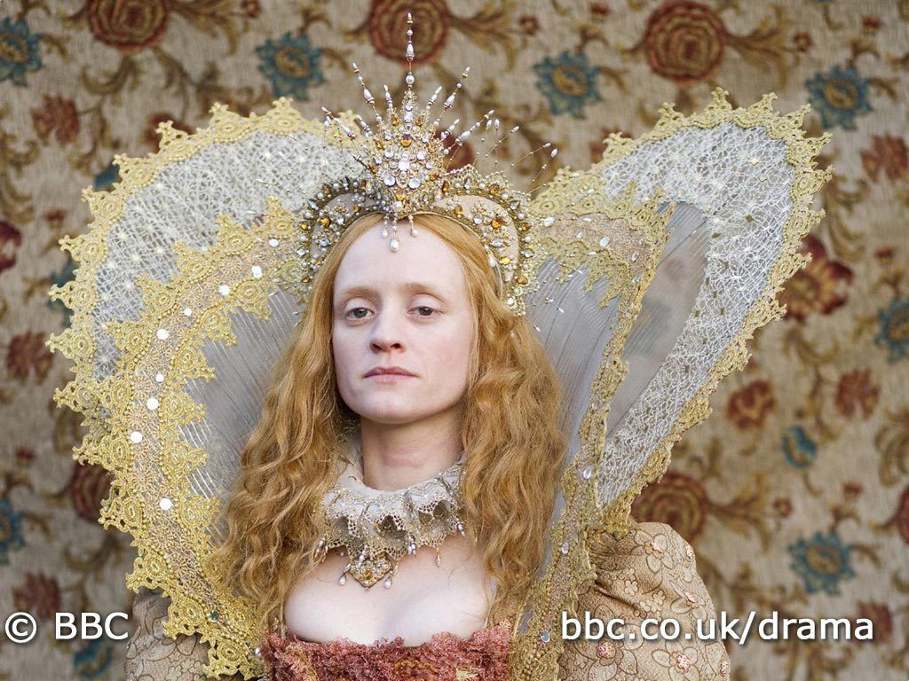 """In honor of Elizabeth I's 481st birthday on Sept 7th, 2014, Frock Flicks chronicled our favorite on-screen depictions of Gloriana. The BBC miniseries""""The Virgin Queen"""" (2005) starred Anne Marie Duff, who was one of only 2 actresses to play Elizabeth Tudor on-screen from her adolescence, before she took the throne, until her death in 1603. Glenda Jackson did the same in the BBC miniseries """"Elizabeth R"""" (1971).  IMAGE: Rainbow Portrait repro, """"The Virgin Queen""""."""