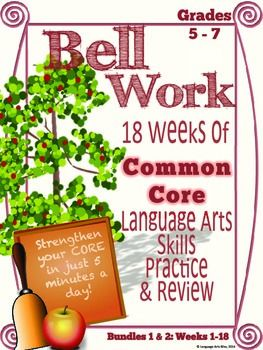 Bell work language arts fall semester middle grades common core updated to include editable powerpoint templates 10 24 14 customize english language artsmorning toneelgroepblik Images