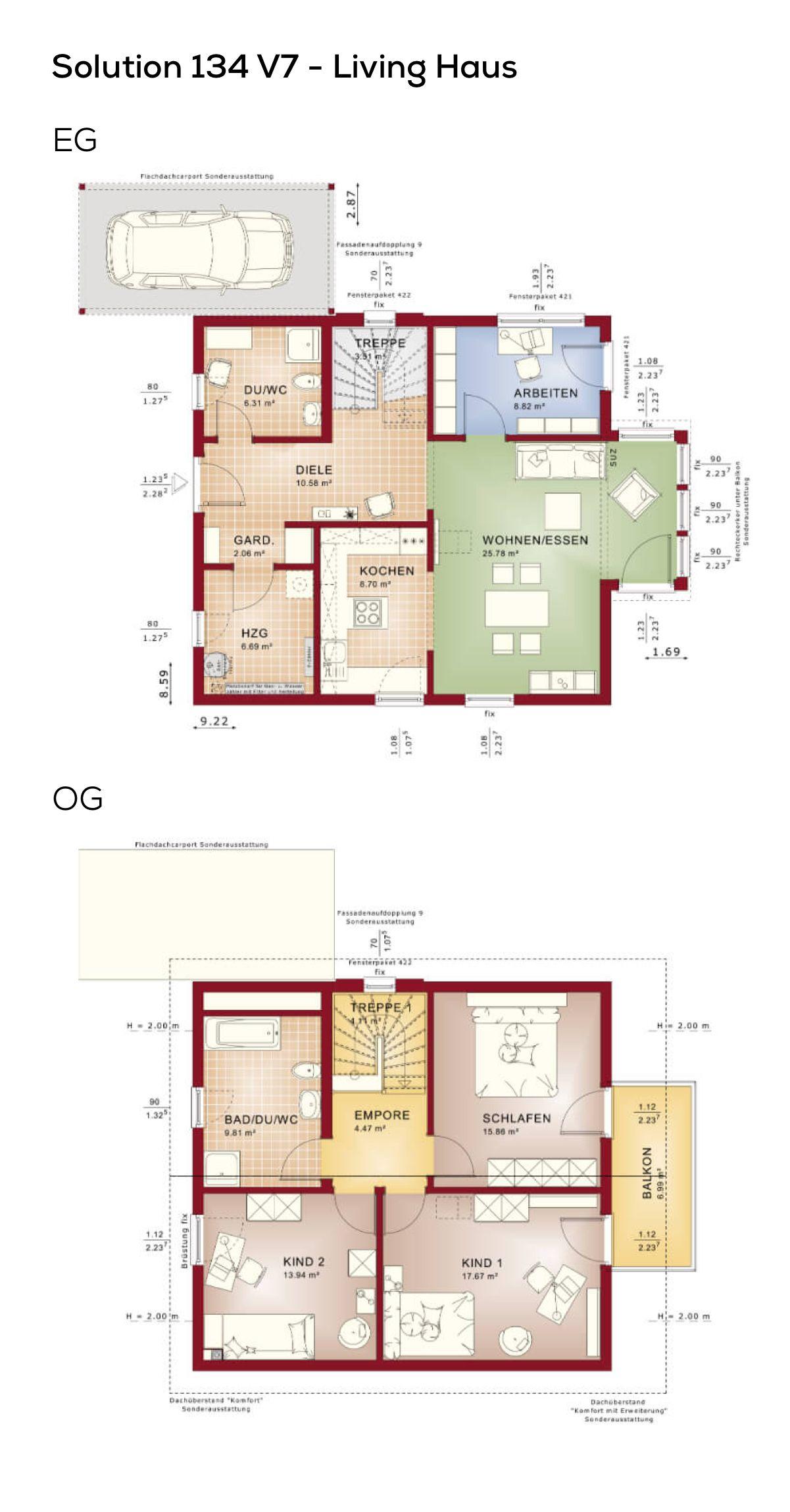 Brilliant Grundriss Einfamilienhaus 150 Qm Ideen Von Mit Satteldach Und Carport - 6 Zimmer,