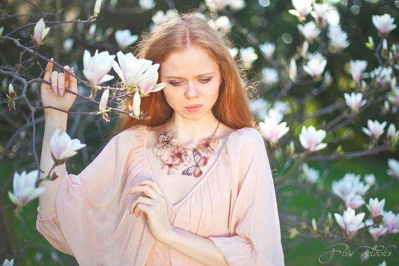 Wedding butterflies statement necklace. Whimsical textile jewelry for fairy wedding. Spring papillon fiber art bijoux.