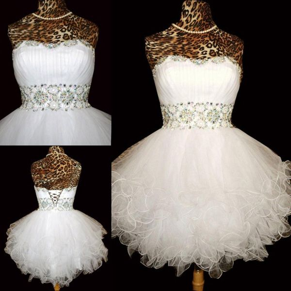 prom dresses ball gown,White A-line Sweetheart Short Mini